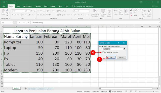 cara membuat tabel di excel dengan rapi
