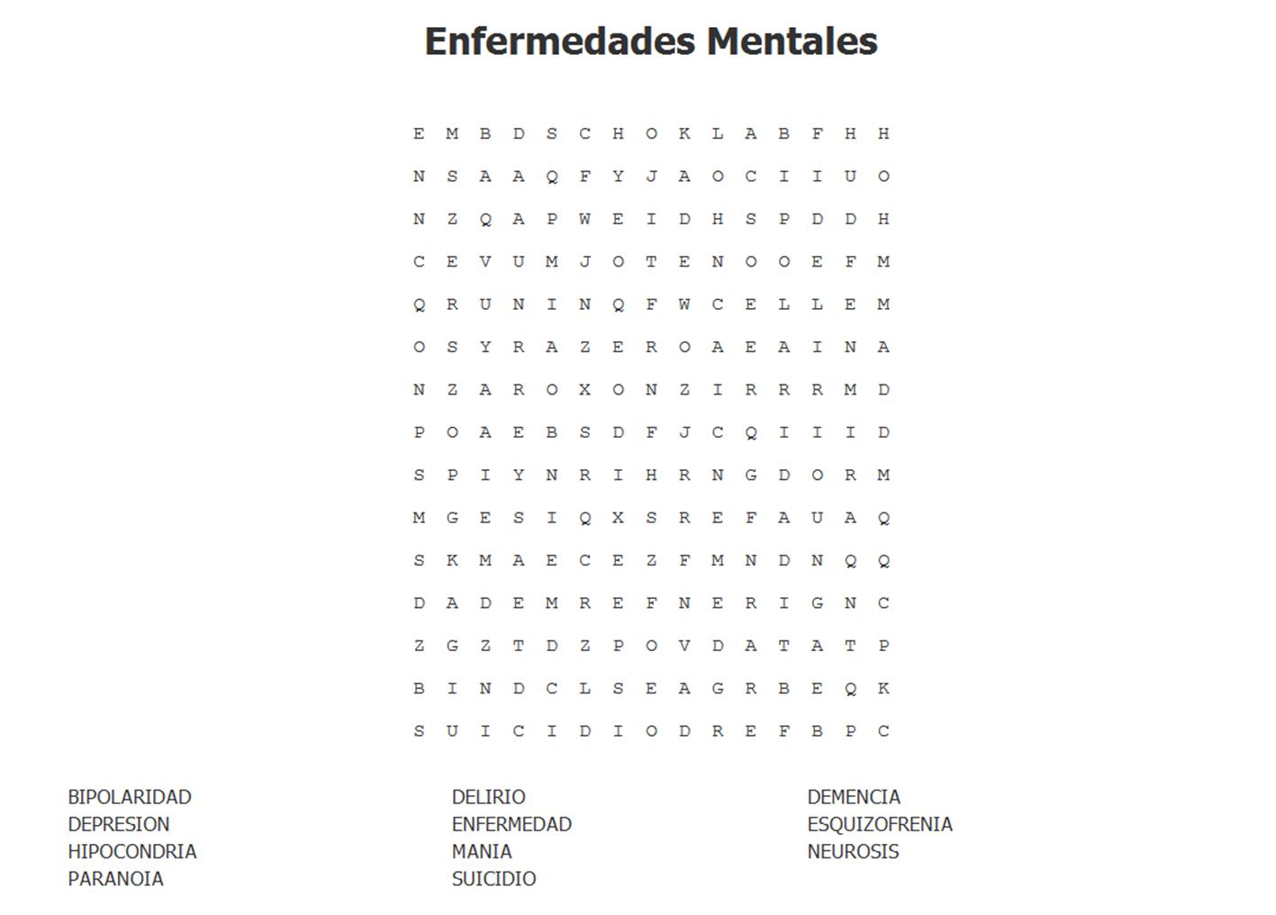 Dra Matesanz Sopa De Letras De Enfermedades Mentales