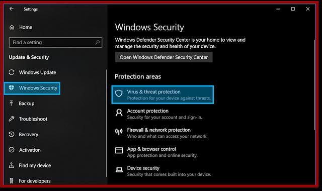 Menu Virus and thread protection settings