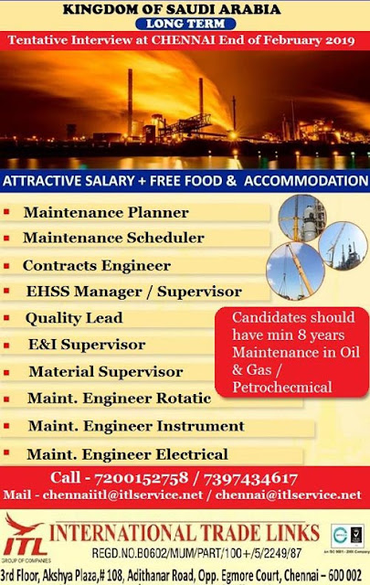 Planner, Contracts Engineer, E&I Supervisor, Rotating Equipment Engineer, Electrical Engineer, Mechanical Engineer, Chennai Interviews, Saudi Arabia Jobs, ITL HR Consultants,