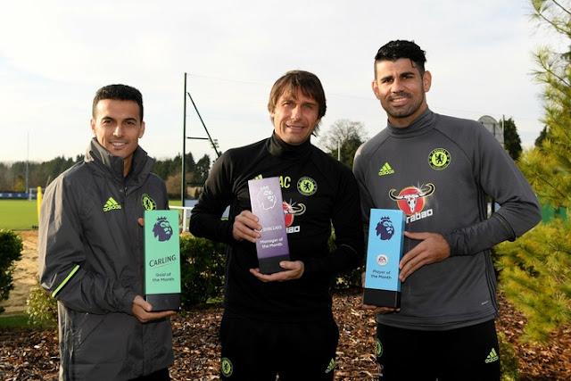 Conte, Diego Costa e Pedro são os melhores de novembro na Premier League