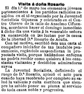 Noticia del proyecto de la Juventud Socialista Gijonesa de realizar una visita a doña Rosario (El Noroeste, 17-5-1914)