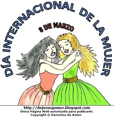 Imagen por la Día Internacional de la Mujer para niños a color. Dibujo del Día Internacional de la Mujer de Jesús Gómez