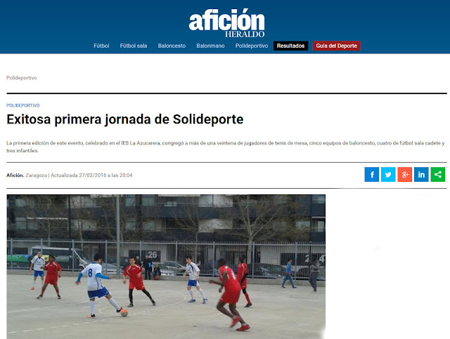 NOTICIA AFICIÓN DIGITAL: Exitosa primera jornada de Solideporte