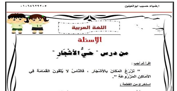 مذكرة مراجعة اللغة العربية للصف الثالث الابتدائي الترم الاول