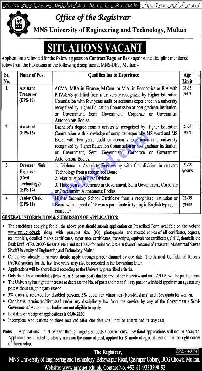 Jobs in MNS University of Engineering and Technology Multan 2020