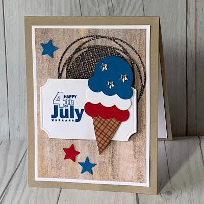 Stampin' Up! Painted Labels Dies and Ice Cream Cone Builder Punch create this fun 4th of July Greeting Card