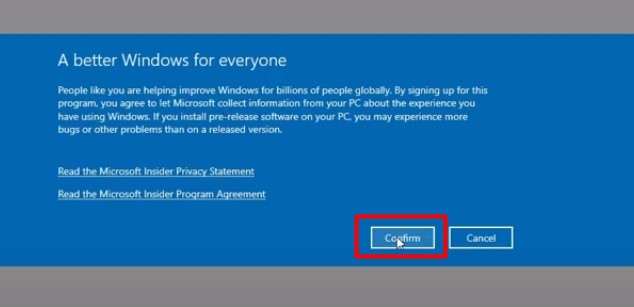 confirm the windows insider program channel and account