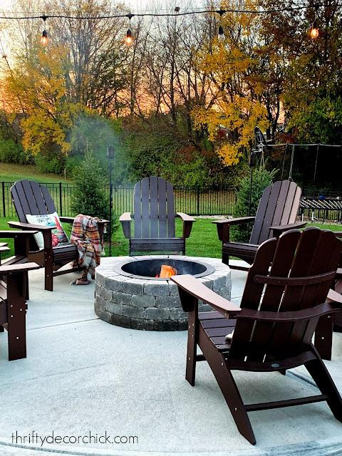 POLYWOOD Adirondack chairs around fire pit