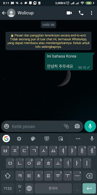 Cara Membuat Tulisan Korea Di WA Tanpa Aplikasi 5
