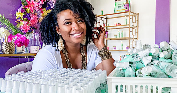 Gwen Jimmere, founder of Naturalicious now manufacturing hand sanitizer