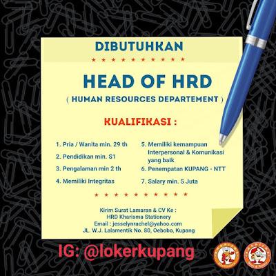 Lowongan Kerja Kharisma Stationery Sebagai Head of HRD