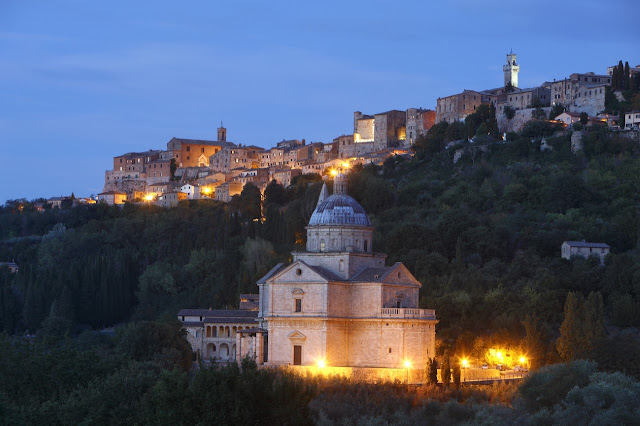 Montepulciano's San Biagio church at night