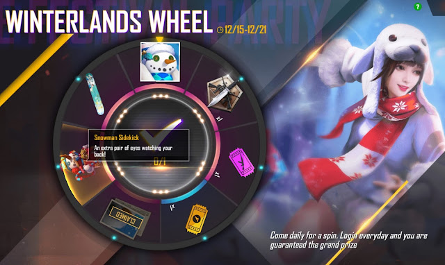 Event Winterland Wheel Free Fire 1 Login 1 Spin Gratis