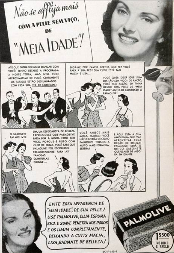 Anúncio antigo do Sabonete Palmolive veiculado em 1938