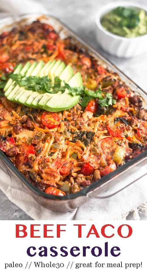 Ground beef, sweet potatoes, peppers and onions, kale, and taco seasoning all baked together in one dish to make a satisfying and comforting paleo and Whole30 beef taco casserole. It's easy to make, healthy, and delicious. Great for meal prep too! - Eat the Gains #whole30 #whole30mealprep #paleo #tacocasserole #glutenfree #dairyfree #healthycasserole #mealprep