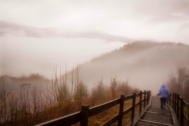 Foggy, misty mountains.