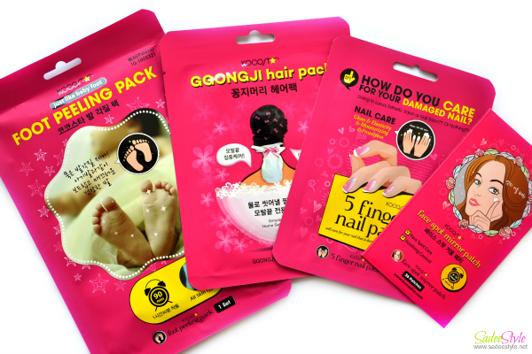 Kocostar 4 package set (Ggongi hair pack 10ea, face spot mirror patch, finger nail pack, foot pealing pack)