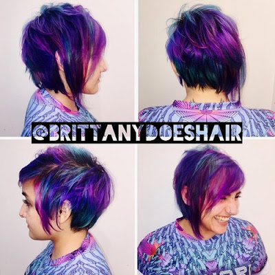 Choppy Pixie with Deep Blue and Purples