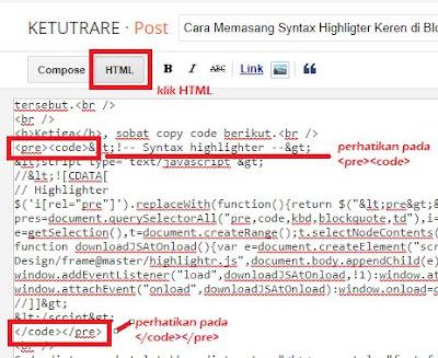 Cara Memasang Syntax Highlighter Keren di Blogger