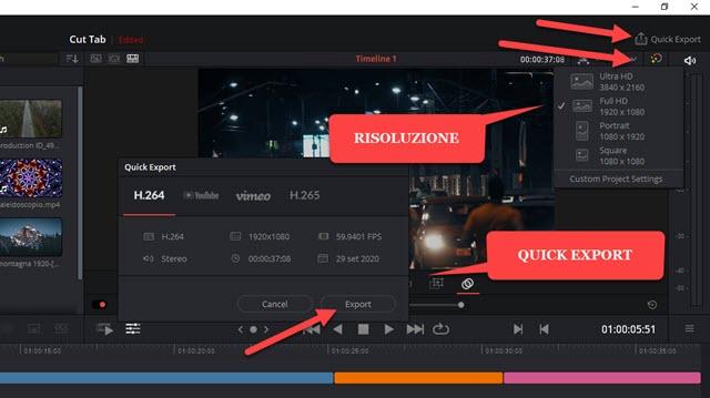 risoluzione e esportazione veloce video timeline