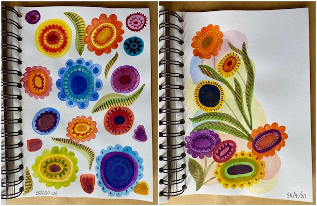 Watercolour abstract flowers