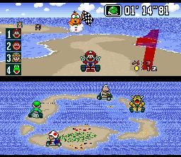 Captura de SNES. Mario ha quedado el primero