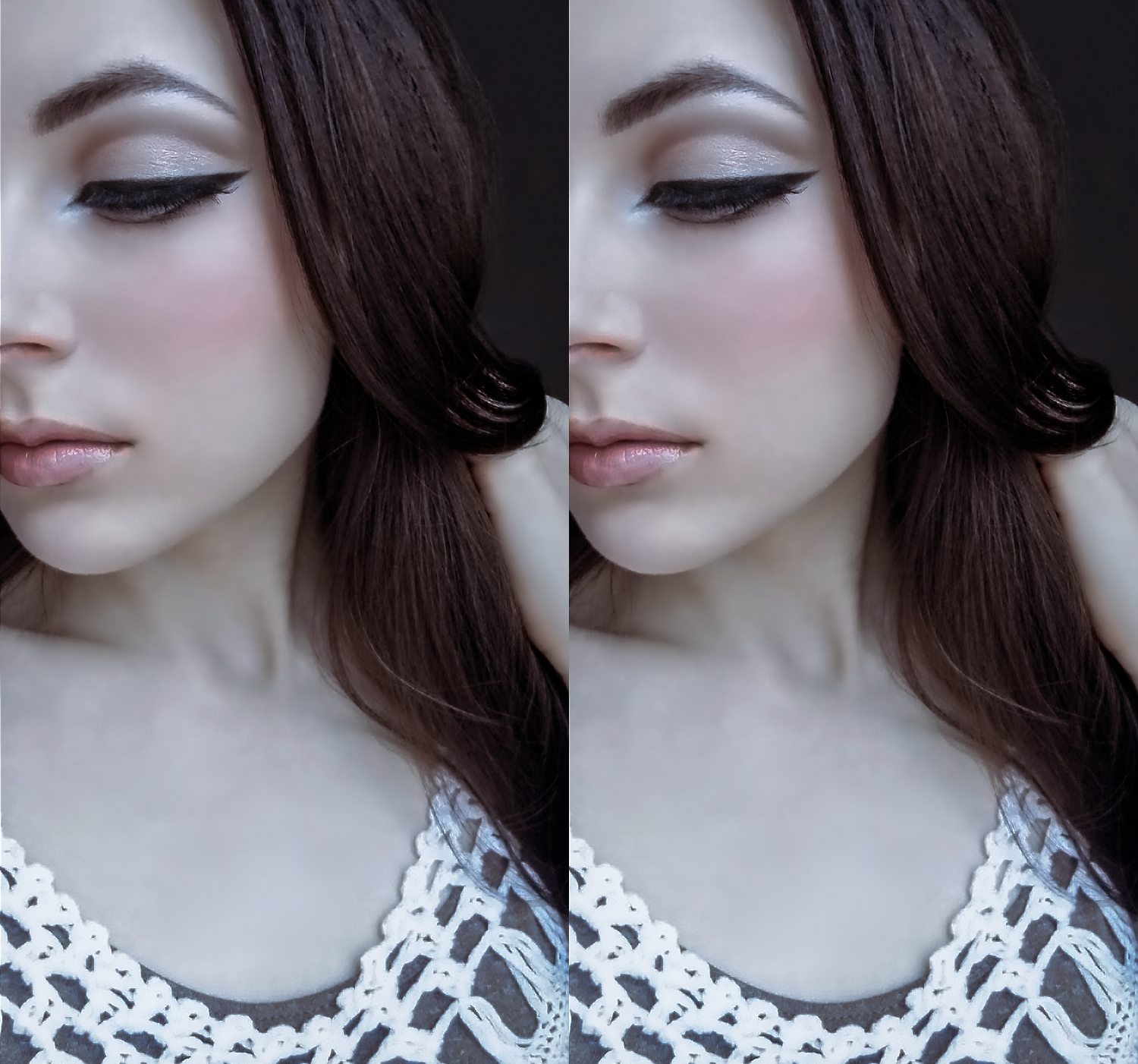 a portrait of a woman with doll-like makeup look