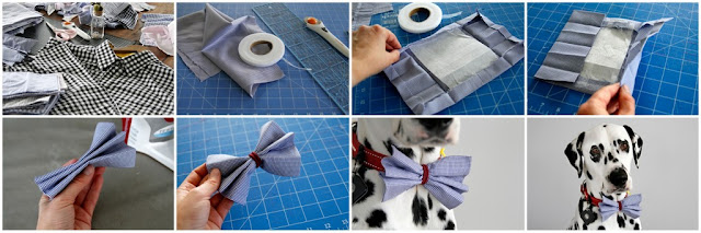 Step-by-step instructions for making a dog bow tie with collar elastic