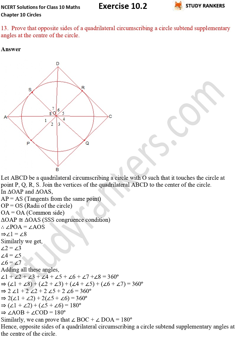 NCERT Solutions for Class 10 Maths Chapter 10 Circles Exercise 10.2 Part 10