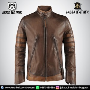 Jual Jaket Kulit Asli Garut Pria Domba Original Brida Leather B02   WA 08813430588