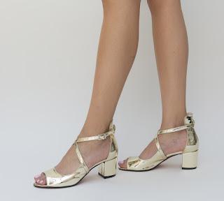 sandale aurii cu toc mic gros de zi ieftine