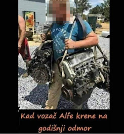 smešna slika: kad vozač alfe krene na odmor