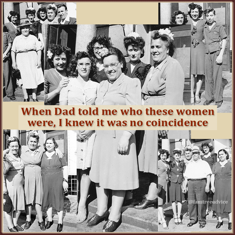 The 4 women were named Pozzuto. If you knew my family, you'd know that's no coincidence.