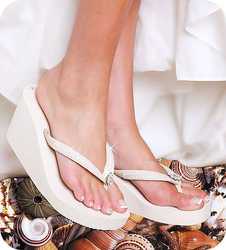 White Platform Flip Flops Wedding