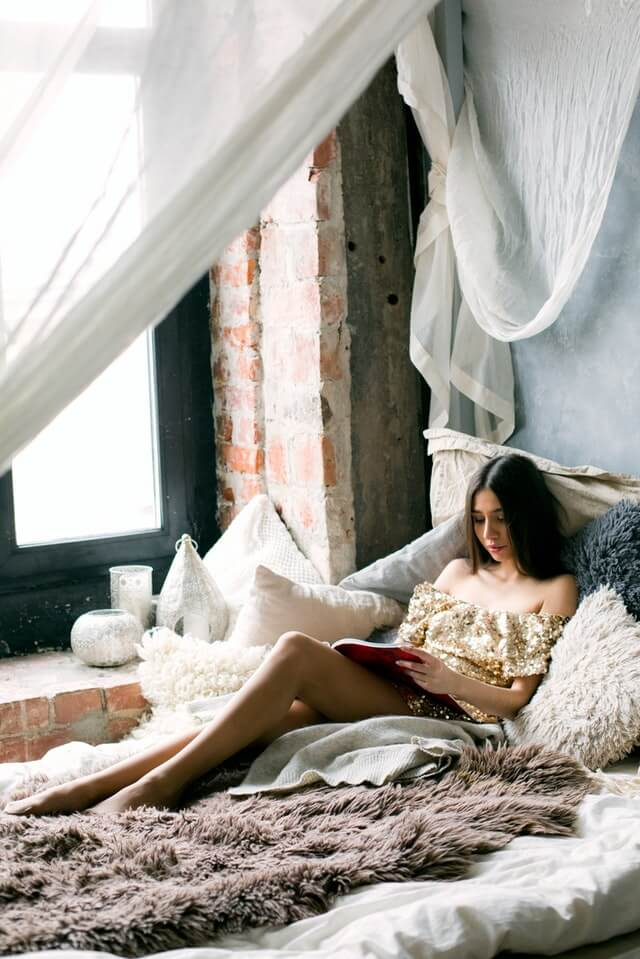 Woman Reading A Book In The Bed HD Copyright Free Image