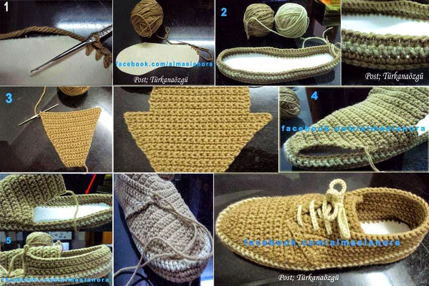 Zapatos de hombre tejidos al crochet con paso a paso | Crochet y Dos ...