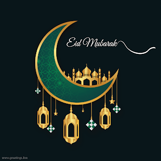 Eid Mubarak  mosque Fanoos  lantern crescent moon