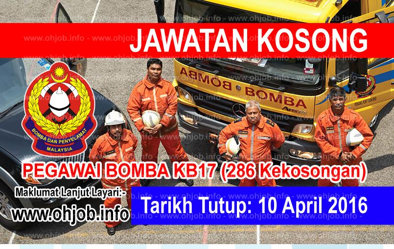 Jawatan Kerja Kosong Jabatan Bomba dan Penyelamat Malaysia logo www.ohjob.info april 2016