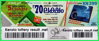 Kerala  Lottery Result 16-01-2020 Karunya Plus KN-299 \(keralalotteryresult.net)