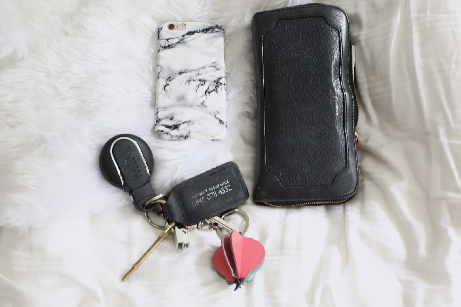 handbag essentials flatlay