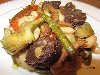 Salteado de verduras y setas con judías del Ganxet