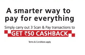 Kotak 811 - Get Rs.50 Cashback on 3 Scan & Pay Transaction