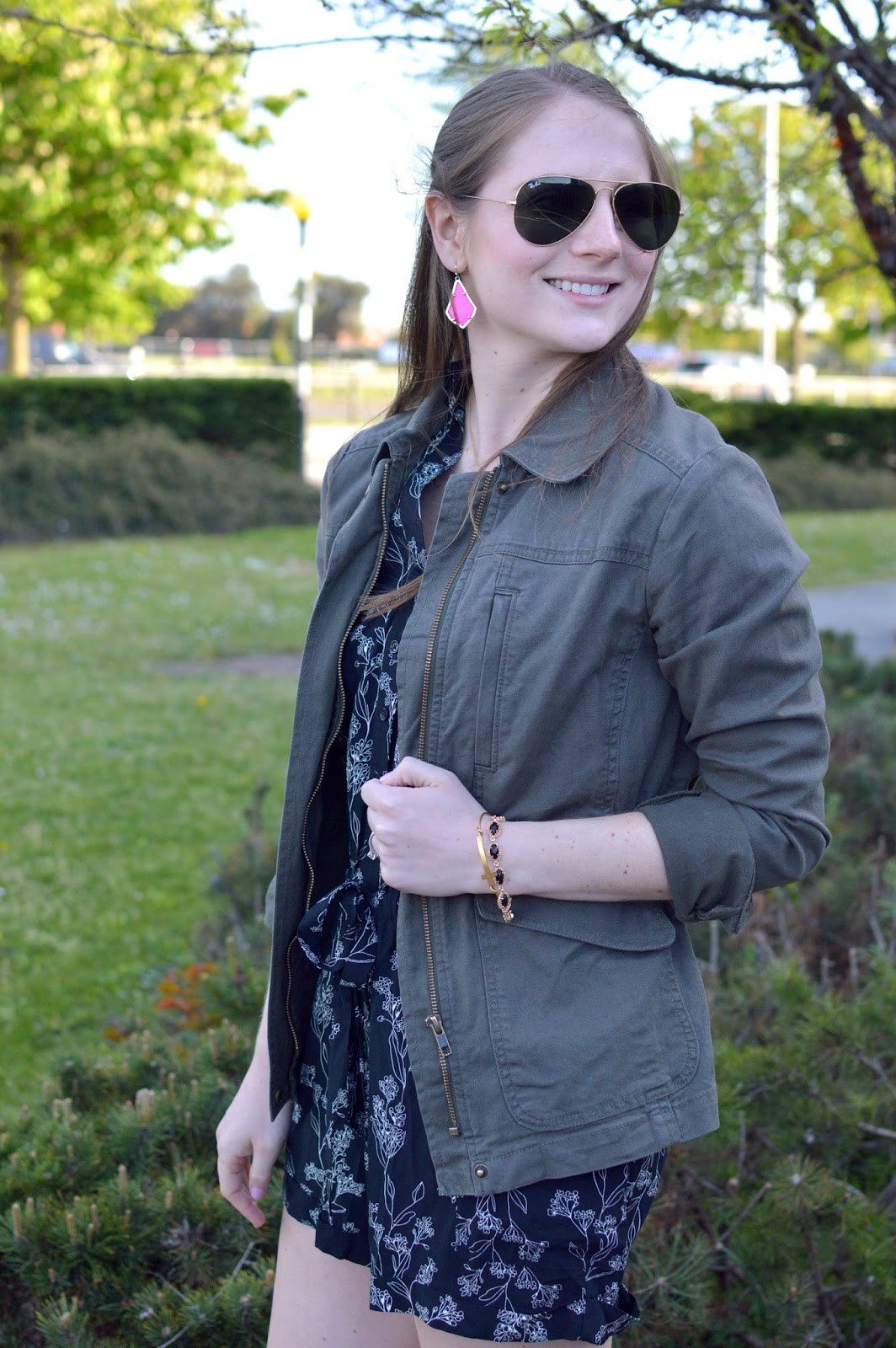 how to wear a military jacket in the spring | military jacket with pink earrings | kendra scott pink earrings | what to wear this spring | summer outfit ideas | a memory of us