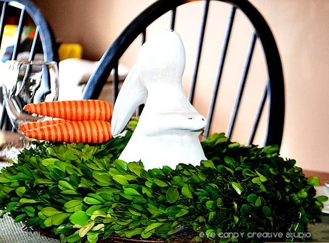 easter table centerpiece, easter party, easter decor, bunny, carrots