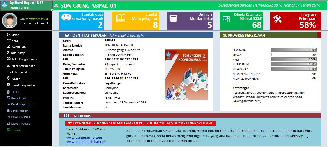 Aplikasi Raport K13 Sd Kelas 1 S D 6 Semester 1 2019 Guru Berbagi