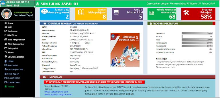 Aplikasi Rapor Kurikulum 2013 Untuk SD Kelas 1 2 3 4 5 6 Semester 1