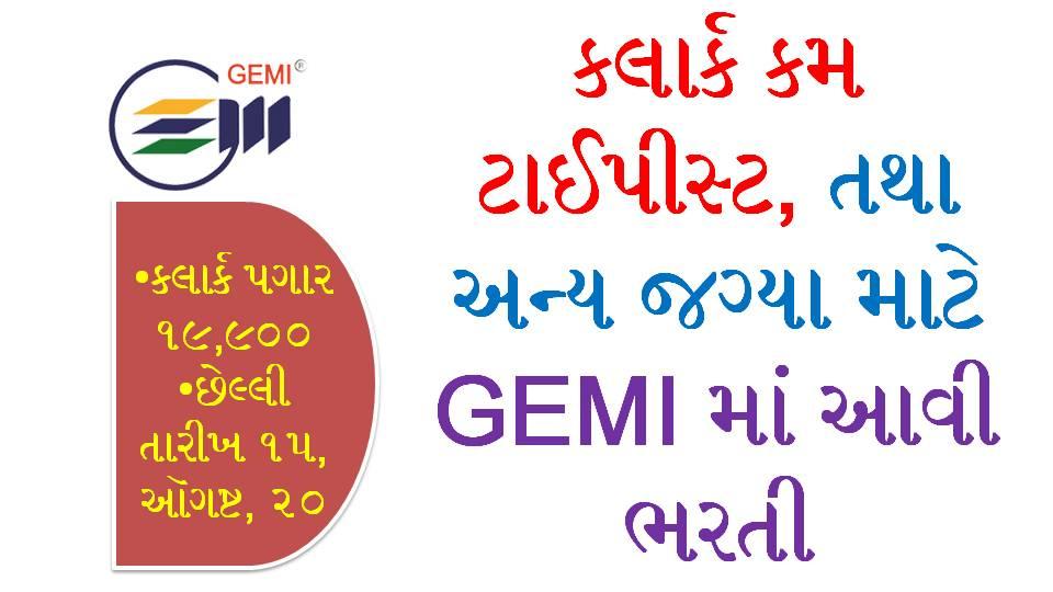 Clerk Cum Typist And Other Post Recruitment In Gemi(Gujarat Environment Management Institute)
