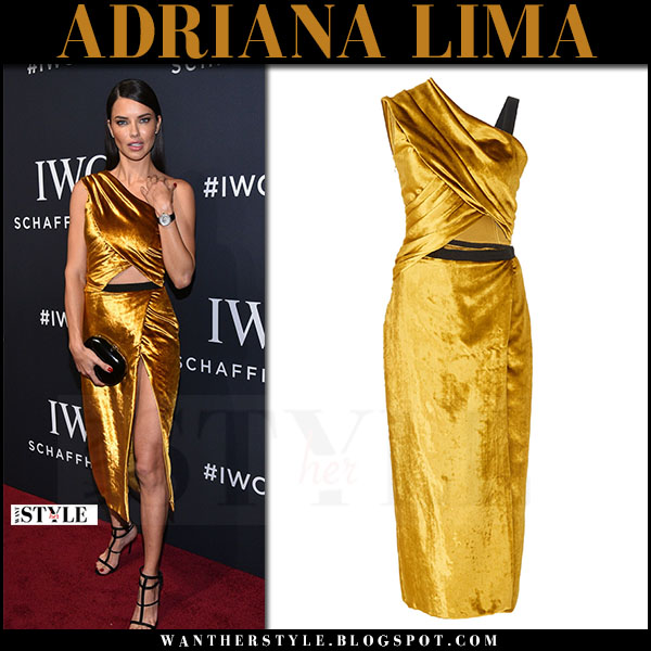 Adriana Lima in velvet gold dress jason wu what she wore april 2017 red carpet