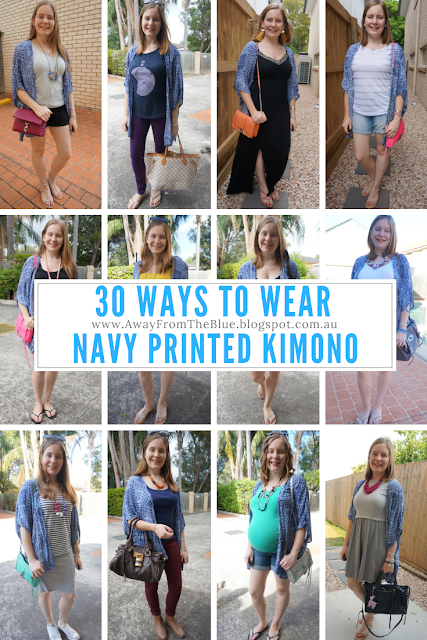 30 Ways To Wear a Navy Printed Kimono: Outfit Ideas | Away From The Blue blog